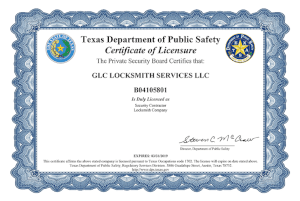 GLC Locksmith Service Certificate The Estate of Texas